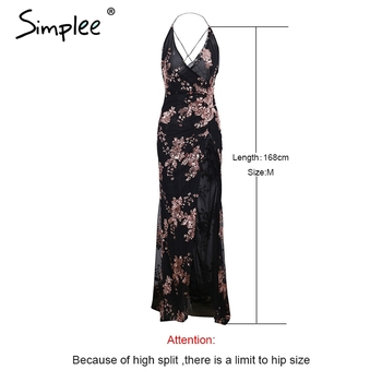Simplee Sexy lace up halter sequin party dresses women Backless high split maxi dress women Christmas 2017  long dress vestidos 4