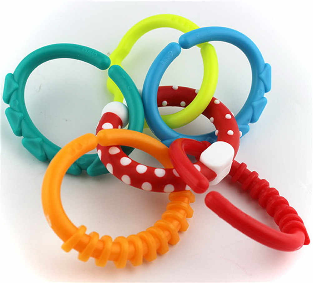 6PCS Crib Bed Stroller Hanging Rattles Toy Decoration Educational Gift Doll Colorful Rainbow Rings Baby Teether Toy