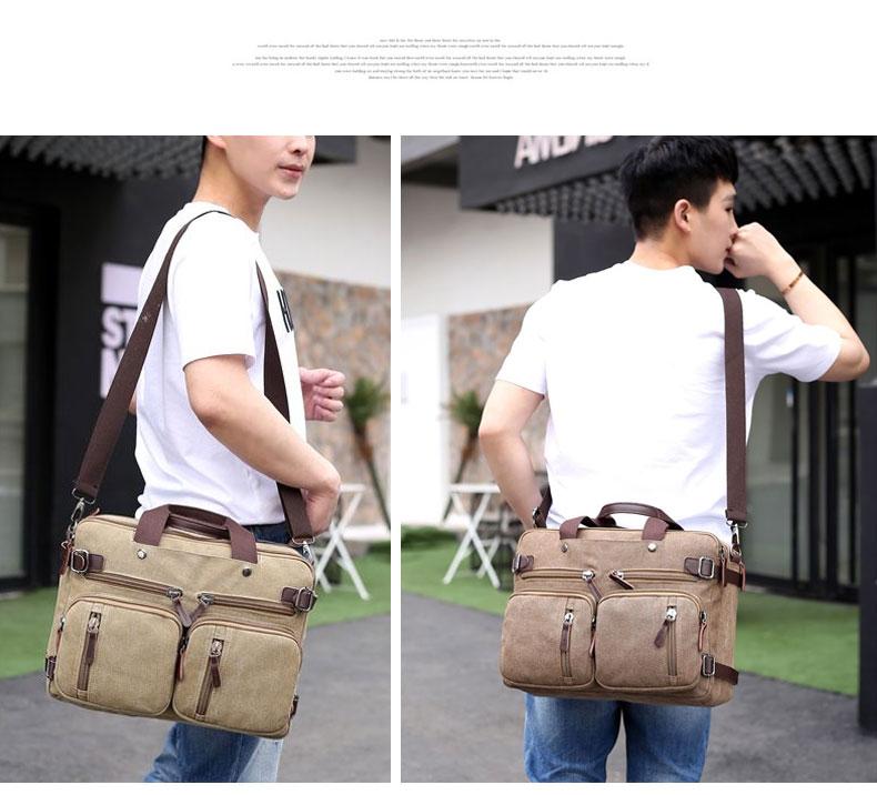 HTB1ItyyB5OYBuNjSsD4q6zSkFXaW Scione Men Canvas Bag Leather Briefcase Travel Suitcase Messenger Shoulder Tote Back Handbag Large Casual Business Laptop Pocket
