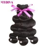 Mydiva Brazilian Body Wave Hair Bundles 100% Human Hair Weaves Extensions 100g/pcs 8-28 Inch Natural Black Non Remy
