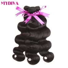 Mydiva бразильский Для тела волна пучки волос 100% человеческих Синтетические волосы соткут расширения 100 г/шт. 8-28 дюймов натуральный черный Номера remy