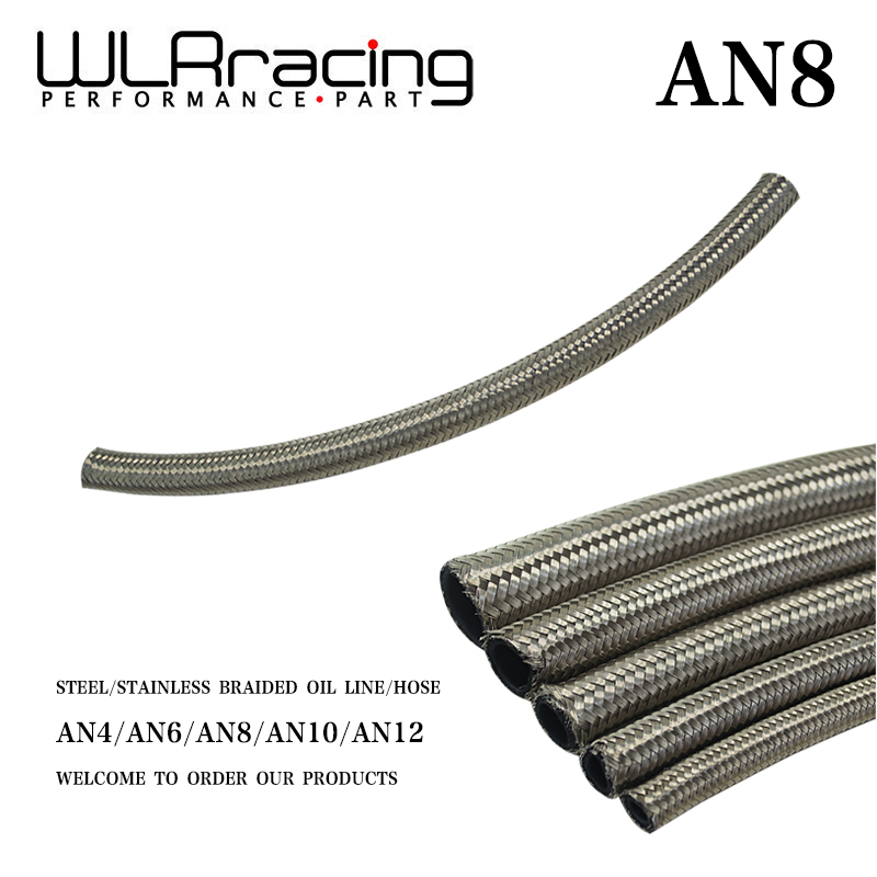 Stainless Steel Braided Fuel Oil Line Water Hose One Feet 0.3m Wlr7113-1 Price Remains Stable An8 8an An -8 Faithful Wlr Racing Id 11.2mm / 0.43