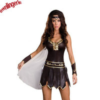 Free Shipping Ladies Cosplay Gladiator Warrior Princess Roman Spartan Fancy Dress Costume Cape M XL