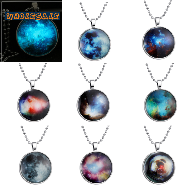 US $56 69 |Glowing In The Dark Zodiac Signs Images Glass Cabochon Necklace  With Domed Glowing Constellation Photos Wholesale 30pcs/Lot Mix-in Pendant