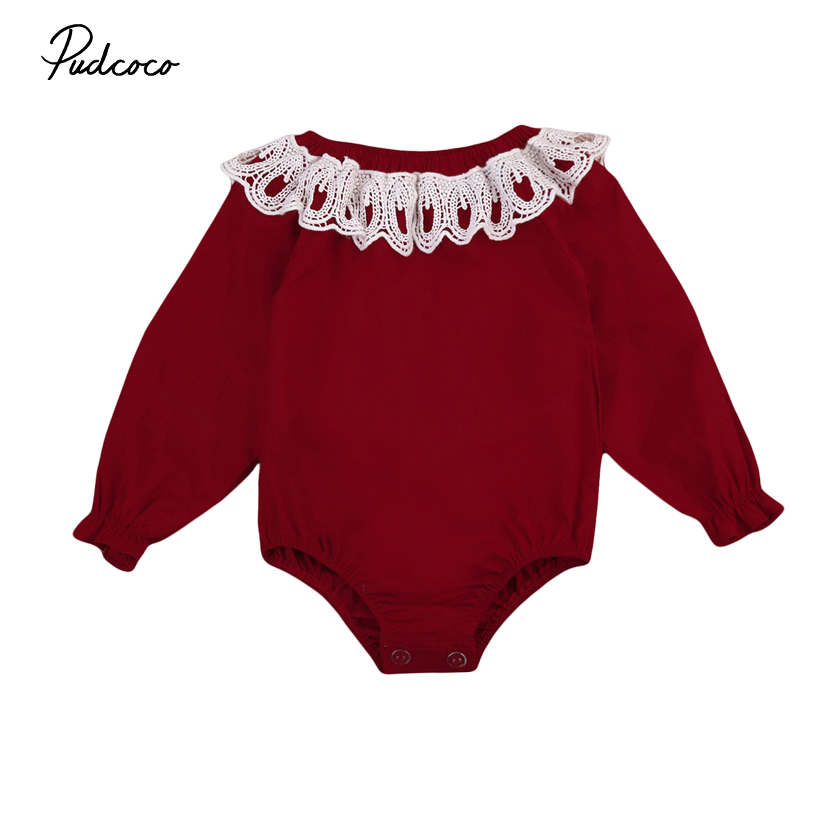 Pudcoco Cute Lace One-Pieces Newborn Baby Romper Infant Baby Girl Long Sleeve Rompers Red Jumpsuit Girl Ruffle Clothes Outfit