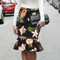 2017 Summer New Style Hip Render Fishtail Skirt Lotus Leaf Printed Skirts Young Lady Fishtail Skirts Sexy Woman Slim Skirt 1301