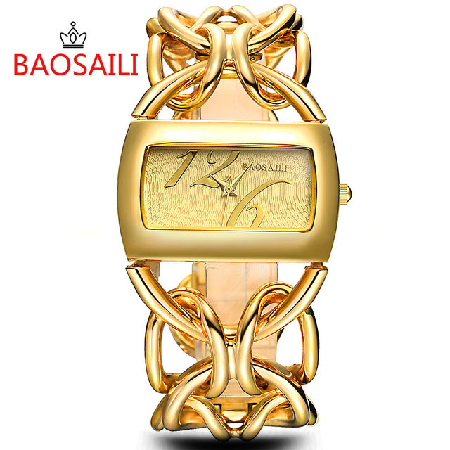 Bsl917 Baosaili Real Gold Plating Circel Strap Women Luxury Watches