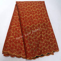 African Lace Fabric High Quality Nigeria Lace Fabric 2018 Red and Gold African Organza Lace Fabric For Women dress IG615