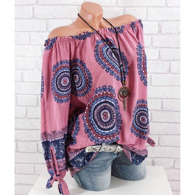Plus Size XS-5XL Women Blouses Sexy Off Shoulder Bow Long Sleeve Women Shirts Fashion Mamdala Print Loose Blouse Women Tops