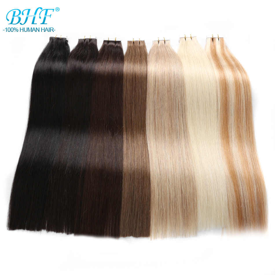 BHF Tape In Human Hair Extensions 100% Human Remy Hair 20pcs straight Tape on Hair Skin Weft extension
