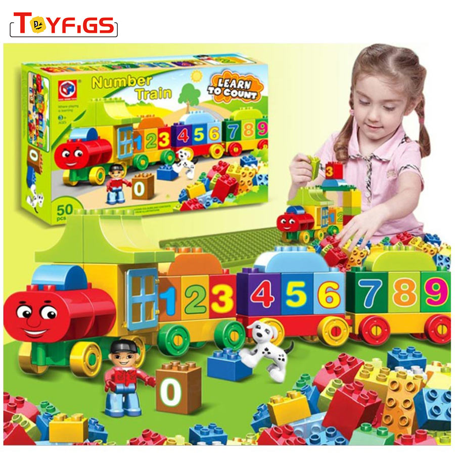 50pcs LegoINGly Duploe Large particles Numbers Train Building Blocks Bricks Educational Baby City Toys for children gifts 35