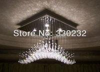 Modern Streamline LED Crystal Chandelier Light Fixture