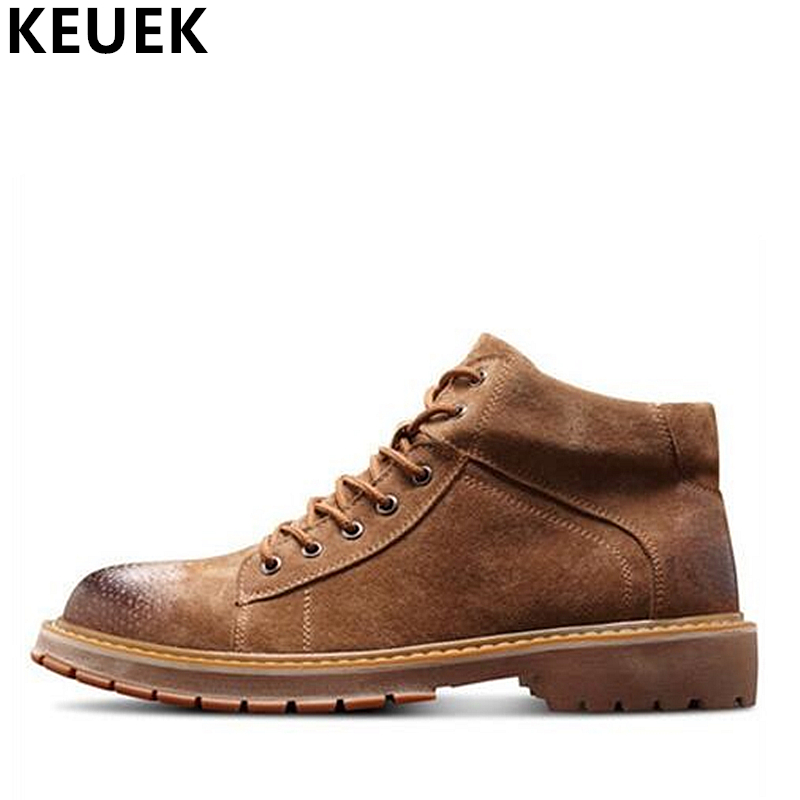British style Fashion Men Ankle boots Genuine leather Breathable Martin boots Lace-Up Male shoes Autumn Winter Snow boots 061 fashion british style men s genuine matte leather boot shoes casual lace up male martin ankle chunky booties homme s4472