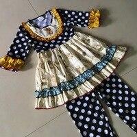 Yiwu Dots pano animais imprimir Metade mangas estilo 100% algodão de Verão e Bib do Bebê Meninas Vestido Vestuário Acessório para presente
