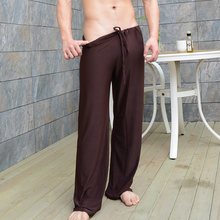 mens pants mens sleep bottoms viscose home pants loose sexy mens lounge pants silk fashion strap sexy male pajamas plus size