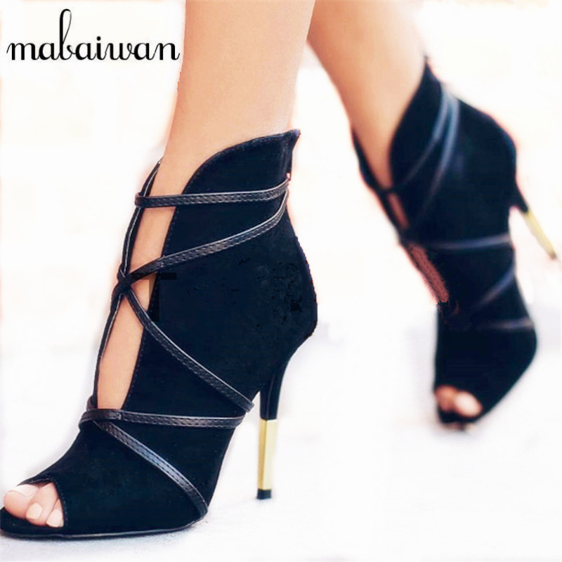 Mabaiwan Black Women Ankle Boots Peep Toe V Front High Heels Wedding Dress Shoes Woman Suede Botines Mujer Women Pumps fashion classic women ankle boots summer peep toe high heels suede boots sandals woman shoes