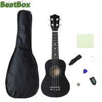 21 inch Ukulele For Beginners Uke Hawaii Bass Guitar Start Pack with Gig bag + Tuner + Pick + Strap + Cleaning Cloth Set