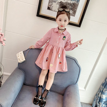 Girls Dress 2019 New Autumn Long Sleeve Cute Kids Stripe Dress Children Clothing Princess Dresses 2 3 4 5 6 7 Years Girl Clothes new 2017 summer autumn girl dress stripe cartoon cute children dresses side 2 pockets cotton vestidos girls clothes kids costume
