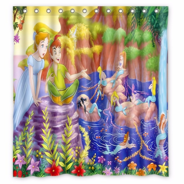 66 X72 Inch Peter Pan Shower Curtain Waterproof Fabric For Bathroom