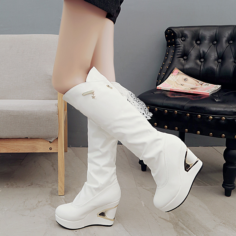 Women Boots 2016 Winter Hot Fashion Ladies Sexy Knee High Boots Wedges Zipper Long Boots Thick High Heels Flock Women shoes