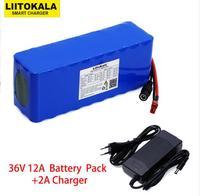 Liitokala 36 В 12Ah 18650 литиевых батарея пакет высокое мощность мотоцикл электрический автомобиль Велосипедный спорт скутер с BMS + 2A зарядное устрой