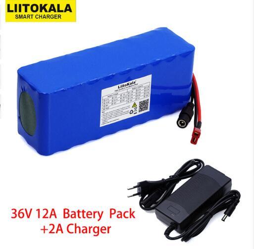Liitokala 36 V 12Ah 18650 batterie au lithium haute puissance moto électrique voiture vélo sport scooter avec chargeur BMS + 2A