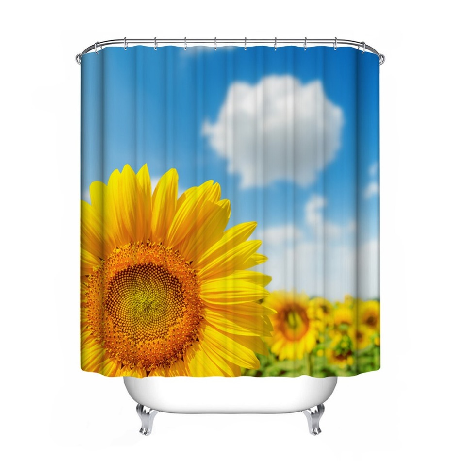 Sunflower shower curtain hooks - 1pcs 6 Types Flower Shower Curtain Polyester Waterproof Bathroom Curtain Decorations Sunflower Ink Lotus