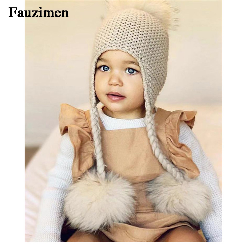 Kids Warm Knitted Scarf And Hat Real Raccoon Fur Pom Pom Crochet Knit Beanie Boys And Girls Beanie Hat
