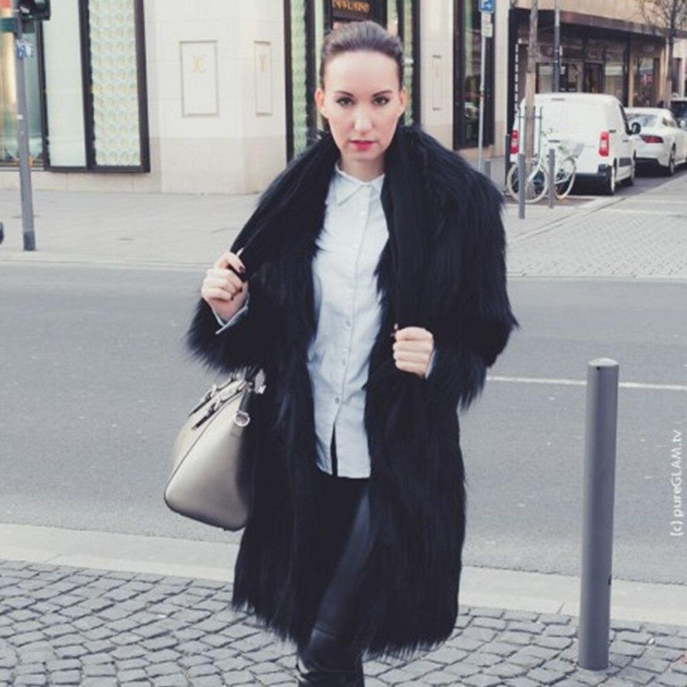 Tuta Inverno Con Donna Pelliccia Autunno Cappotti Ecofriendly Abiti Giacche Shaggy Donne Faux Sportiva Le Fur Nero Cappotto Lungo Per wYxAwqT