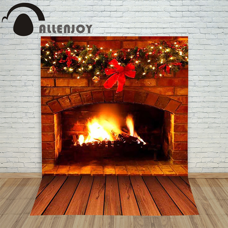 Allenjoy christmas photography backdrop Plank fireplace bowknot wreath children's camera photocall photo photographic improving quality of life in anxiety and depression