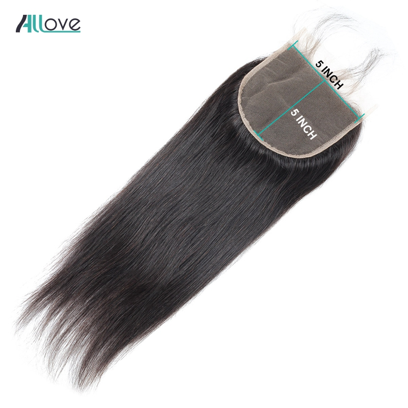 Allove Brazilian Straight Hair Lace Closure 8-20inch 5*5 Closure Free Middle Three Part Swiss Lace Closure Non Remy Human Hair