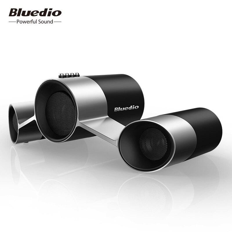 NOS Sistema de Colunas de Áudio Sem Fio Bluedio/Patenteada 3 Drivers Falantes Bluetooth Com Mic & Caixa de Som Graves Profundos 3D