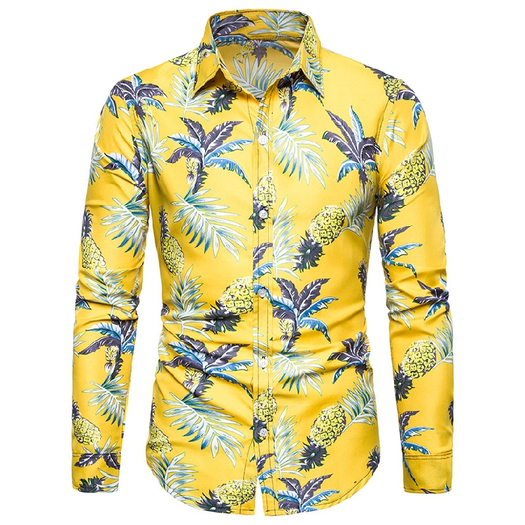 MarKyi 2019 Fashion Beach Style Hawaiian Shirts Men Pineapple Print Men Shirt Long Sleeve Casual Yellow Shirt