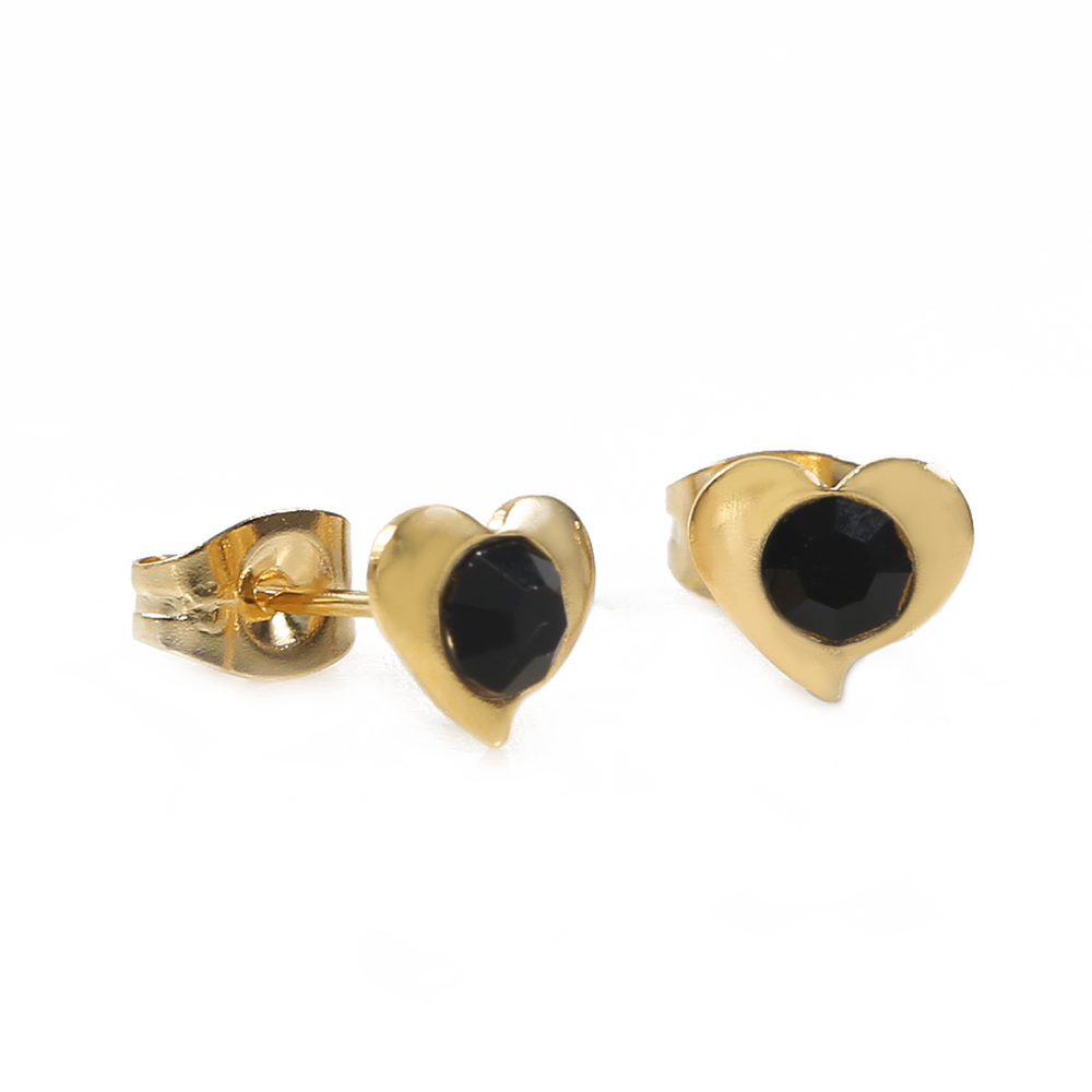 TL Black Flower Earrings for Women  Charming Stainless Steel Gold Earrings Simple Design Jewelry Wedding Earrings For Female