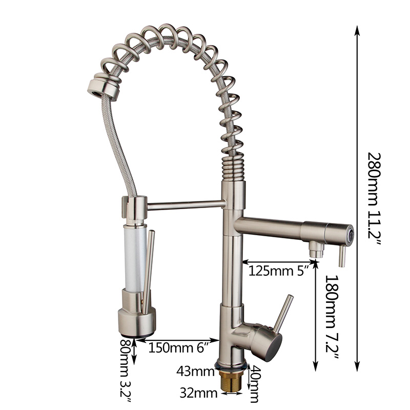 Nickel Brushed Kitchen Swivel Spout Faucet Double Water Outlet Kitchen Sink Pull Down Spray Hot Cold