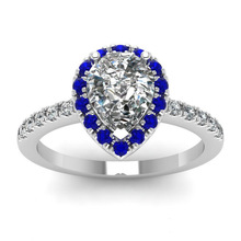 Huitan Pear Shaped Wedding Ring For Women Romantic Water Drop Blue&White Cubic Zircon Prong SettING with Micro Paved