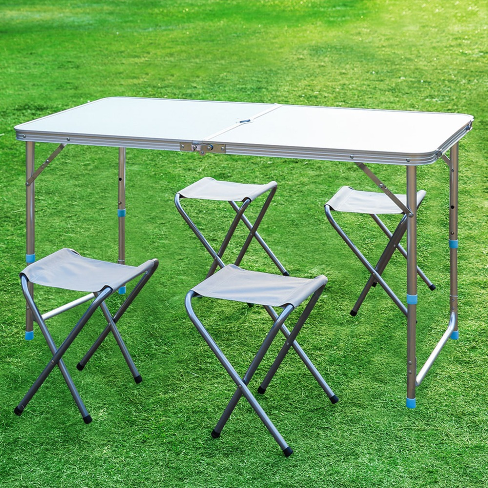 Finether Height Adjustable Aluminum Folding Table Portable For Indoor Outdoor Activity Recreation Dining Picnic Party C&ing-in Outdoor Tables from ... : folding table set of 4 - pezcame.com