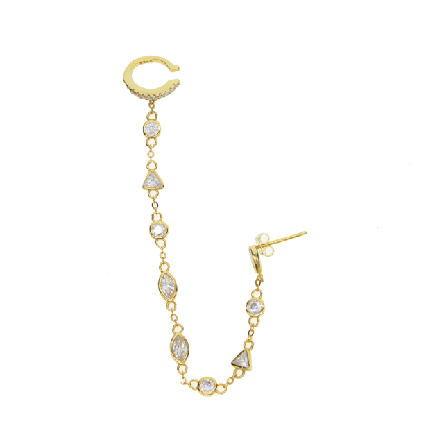 Women's Banded Chain Cuff Earring with Cubic Zirconia