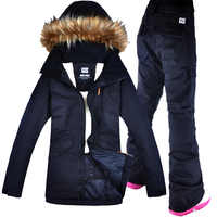 Delle Donne di NEVE GSOU Tuta Da Sci di Snowboard Giacca + Pantalone Impermeabile Antivento Abbigliamento per le Donne di Inverno Copre Il Trasporto libero