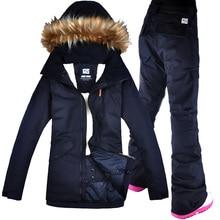 c9e2998024b7f GSOU nieve traje de esquí Snowboard traje chaqueta + Pantalones  impermeables a prueba de viento ropa para mujeres ropa de invier.