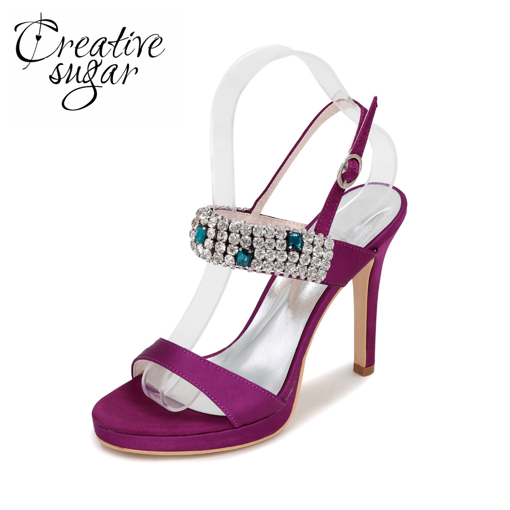 цена на Creativesugar woman crystal sandals satin summer dress shoes colorful rhinestones high heels party prom purple silver grey ivory