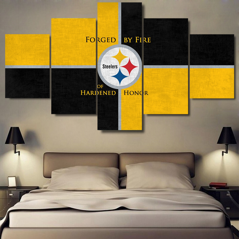 5 Panels Pittsburgh Steelers Canvas Painting Prints Sport Wall Painting On Canvas Room Decorationpainting For Home