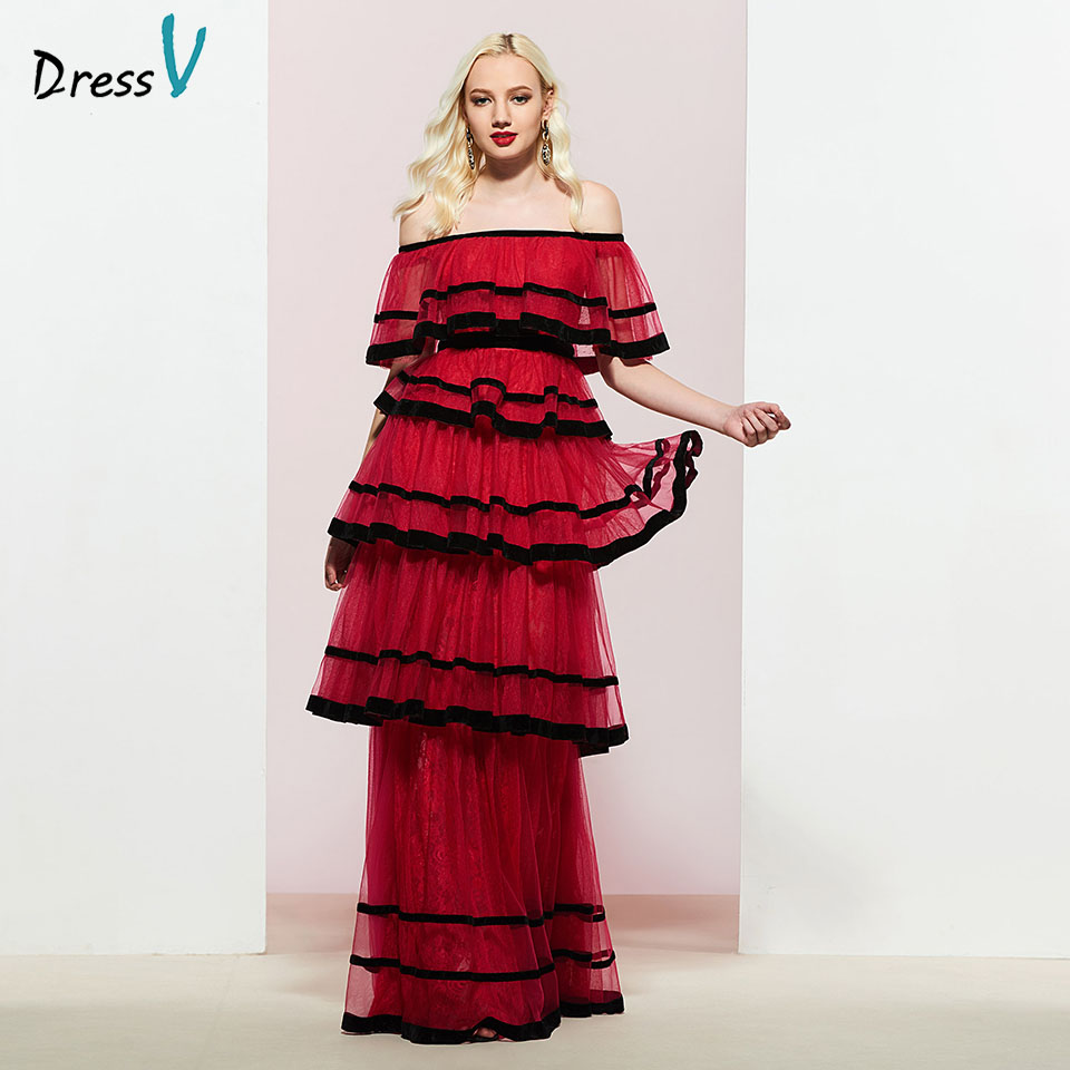 Dressv Rust Red Long Prom Dress Off The Shoulder Simple A-line Tiered Floor Length Evening Party Gown Prom Dresses