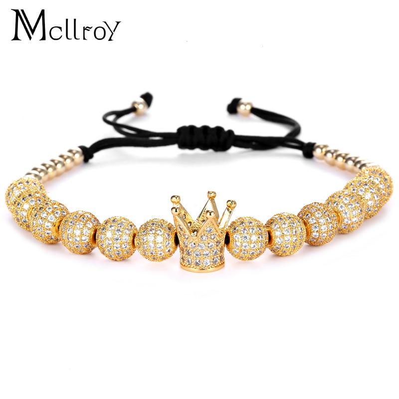 Prix pour Mcilroy Zircon Bracelets Hommes Bijoux Cubique Micro Pave CZ Couronne Charme 4mm Ronde Perles Tressé Macrame Bracelet pulseira feminina