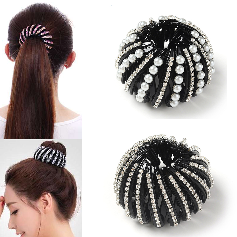 M MISM Pearl Rhinestones Colorful Bud Hair Claw Maker Bun Hairgrip Hairpins Hair Accessories Hair Clips For Women Girls Bezel
