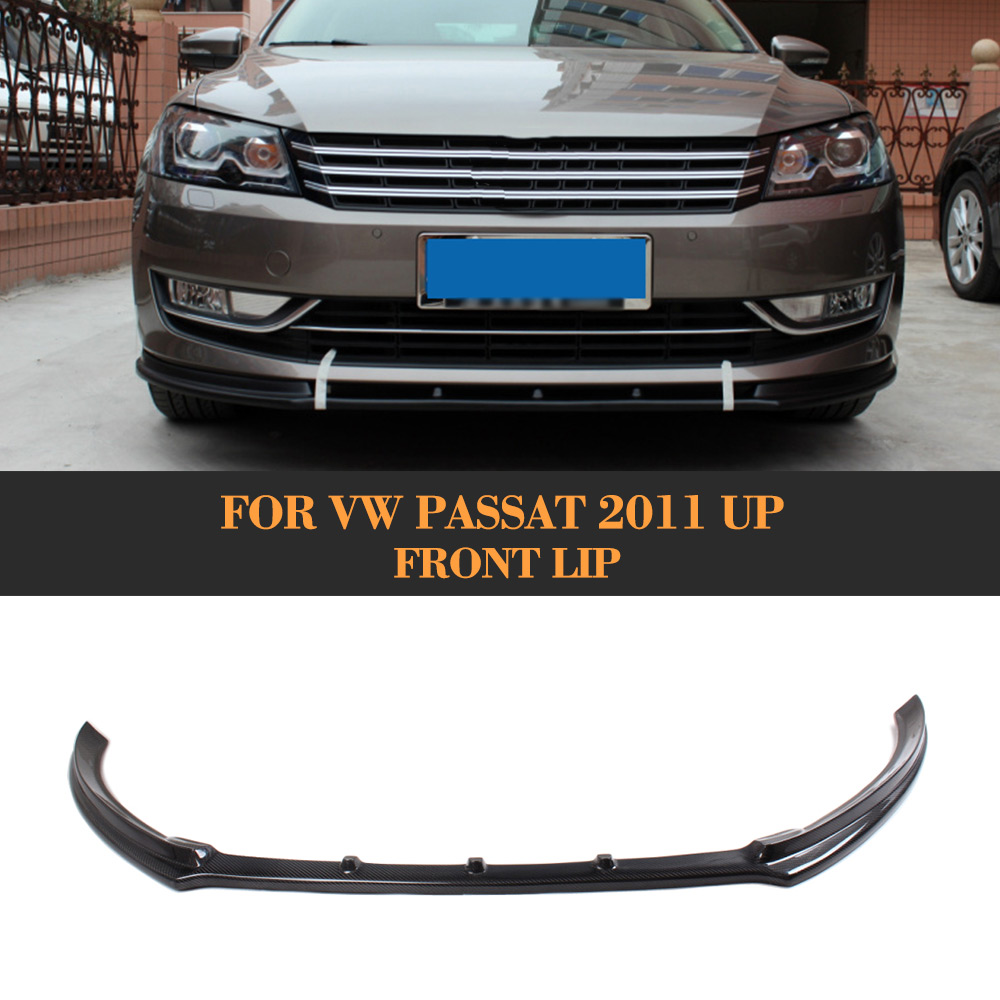Carbon Fiber Car front bumper lip spoiler For VW Passat 2011 UP Black FRP carbon fiber front bumper lip spoiler splitter for vw scirocco 2010 2012