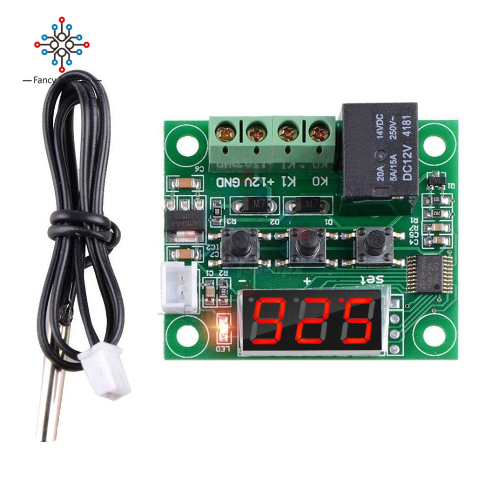 W1209 DC 12V LED Digital Thermostat Temperature Control Thermometer Thermo Controller Switch Module + Waterproof NTC Sensor цена 2017