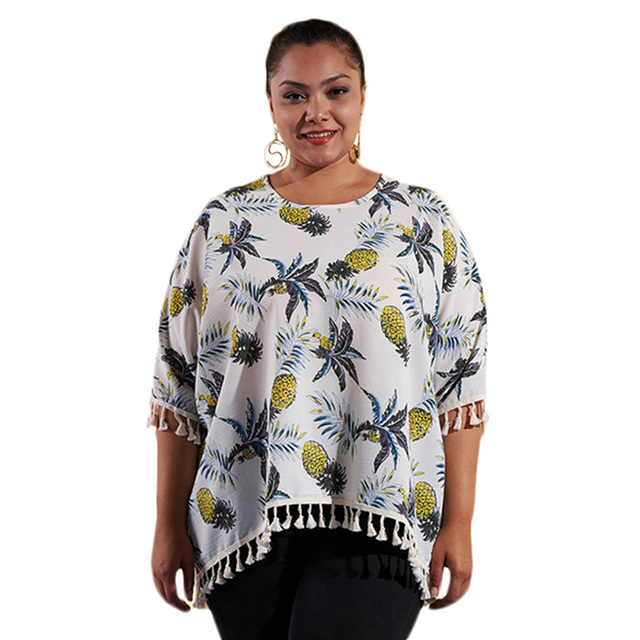 e4450f21ed0 New Women Plus Size Shirt Pineapple Print Tassels Fringed Batwing Sleeve  Blouse Casual Loose Tee Tops Women White Blouse Shirts