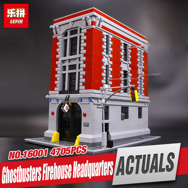 New LEPIN 16001 4695Pcs Genuine Ghostbusters Firehouse Headquarters Model Educational Building Kits Model set  brinquedos Gifts lepin 16032 586pcs new genuine movie the ghostbusters ecto 1