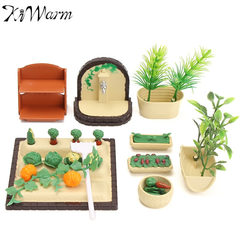 Cute 1 Set Miniatures Gardening Vegetable Flowers Food Ornaments Furniture Doll House To ...
